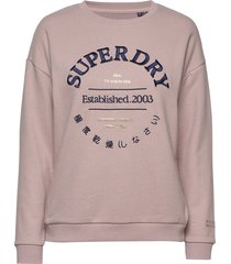 applique serif crew ub sweat-shirt tröja rosa superdry