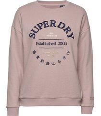 applique serif crew ub sweat-shirt tröja rosa superdry