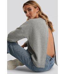 dahl sisters x na-kd tröja med öppen rygg - grey
