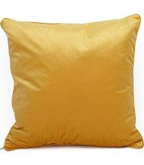 welurowa poduszka żółta