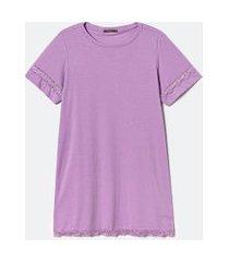 camisola manga curta lisa com detalhes em renda curve & plus size | ashua curve e plus size | roxo | gg