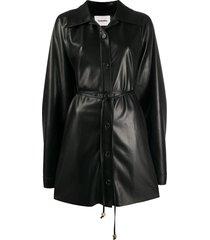 nanushka joy faux leather shirt dress - black
