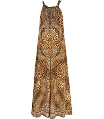 camilla lady lodge silk jumpsuit - brown