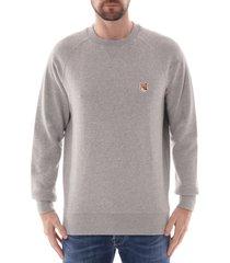 maison kitsune fox head patch sweatshirt |grey| 303km01-gry