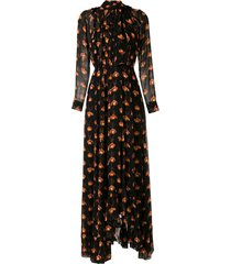 eva papilio printed long dress - black