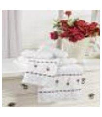 jogo de banho bordado felicitá branco vilela enxovais 5 peças