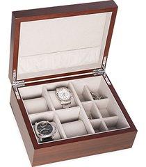 matte walnut wood watch & cufflink storage box