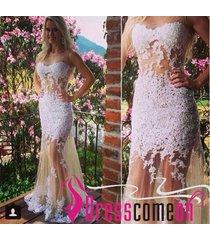 amazing see through mermaid sleeveless white lace wedding dress/bride dress n12