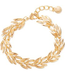 charter club gold-tone leaf flex bracelet, created for macy's