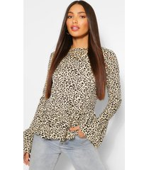 tall leopard print long sleeve top, brown
