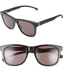 men's boss 53mm square sunglasses - black