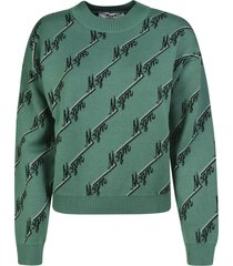 logo motif knit sweater