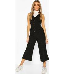 cord dungaree jumpsuit, black