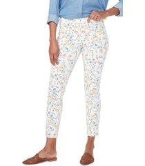 women's nydj floral ankle slit crop skinny jeans