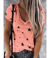 camiseta de manga corta con cuello de pico y estampado de estrellas