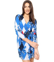 vestido azul tommy hilfiger jill wrap dress ls