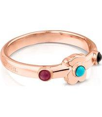 anillo super power de plata vermeil rosa con gemas