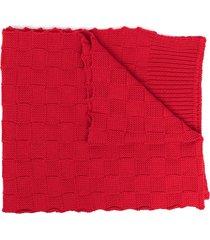 bottega veneta checkerboard-knit wraparound scarf - red
