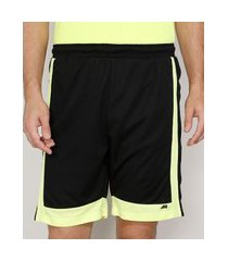 bermuda masculina esportiva ace com bolsos e recortes neon preta