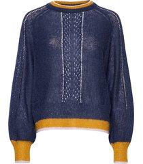 solid gracinia sweater stickad tröja blå becksöndergaard