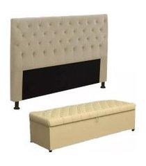 cabeceira mais calçadeira baú king 195cm para cama box sofia corino bege - ds móveis