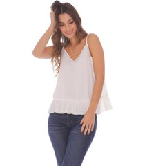 blusa de tiras con detalles plisados para mujer x49579