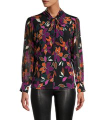 calvin klein women's floral-print twist neck blouse - coffee combo - size l