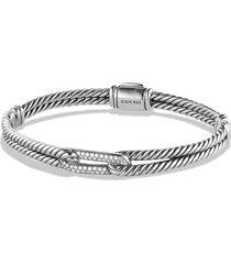 women's david yurman petite pave labyrinth single loop bracelet with diamonds in gold