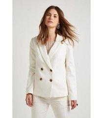 blazer alfaiataria natural botões sacada feminino