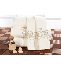 jogo de banho algodão com 5 peças - toalha amande - bernadete casa