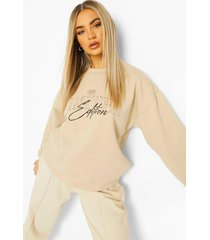 oversized overdye sweater met tekst, ecru