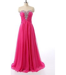 blevla sequined sweetheart long prom dress rhinestone evening gown hot pink us 6