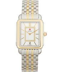 deco ii stainless steel, 18k yellow gold & diamond bracelet watch