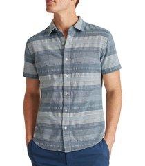 men's bonobos riviera slim fit stripe short sleeve button-up shirt, size large - blue