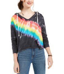 crave fame juniors' tie-dye hooded top