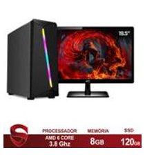 pc gamer completo amd 6-core cpu 3.8ghz 8gb (placa de video radeon r5 2gb) ssd 120gb skill monitor hdmi led 19.5 casual