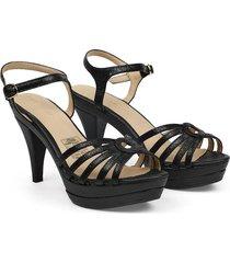 sandalia de tiras cuero negro versilia sorany