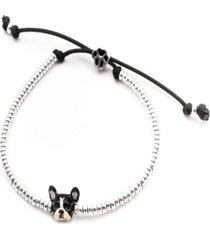 french bulldog head bracelet in sterling silver and enamel