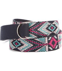 women's isabel marant nyess geo embroidered woven belt, size one size - faded night