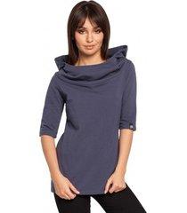 sweater be b026 korte mouwen blouse met kap - blauw