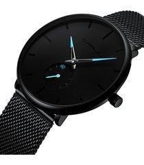 reloj hombre lujo delgado malla acero crrju 2150 negro azul