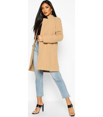 contrast zip wool look coat, camel