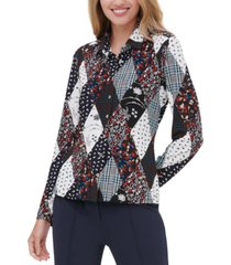 tommy hilfiger printed patchwork button-up shirt