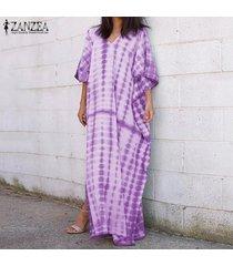zanzea de s-5xl mujeres largo manga del batwing del vestido maxi raya escotado camisa de vestir de tamaño extra grande -púrpura