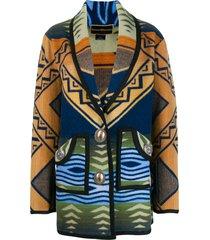jessie western patterned cardi-coat - blue