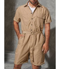 incerun hombres militar peleles con bolsillos estilo cinturón suelto mono