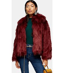 oxblood luxe faux fur coat - oxblood