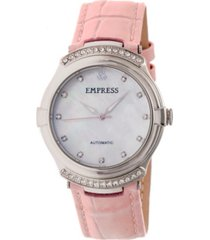 empress francesca automatic light pink leather watch 35mm