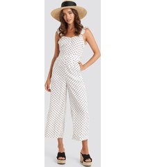 na-kd boho cross back jumpsuit - white