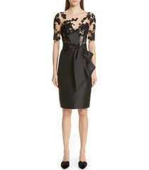 badgley mischka collection bow waist lace bodice sheath evening dress, size 16 in black at nordstrom